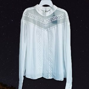 MAJE Ludmi Floral Lace woven top White button NWT